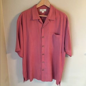 Tommy Bahama coral 100% silk button down shirt